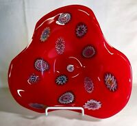 Fratelli Toso Murano Art Glass Bowl With Millefiori Spirals
