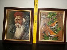2 ORIGINAL OIL PAINTINGS BIRDS & Old man smoking pipe ON LEAVES, SIGNED BY GRIS