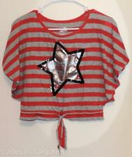 EC JUSTICE GIRLS Size 8 SEQUINNED STAR LARGE ARM HOLE SHORT SLEEVE SHIRT/TOP