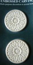 "Embossed Smaller Sunflower Design Wood Applique - ONLAY - 2 1/8"" Round- Pair"