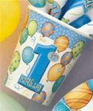 1st Birthday Blue Balloons Party Cups 9oz