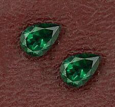 Two 7mm x 5mm 7x5 Pear Green Quartz Gem Stone Gemstone