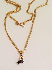 collier pendentif doré or fin rodié avec saphir navette et oxyde diamant 4994