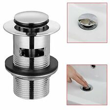 Pop Up Basin Waste Sink Push Button Click Clack Plug Slotted Chrome Bathroom
