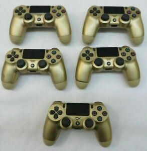 Lot of 5 Sony Playstation 4 PS4 Wireless Controllers Parts/Repair Gold (B)