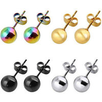 Fashion Stainless Steel Ball Stud Earrings Round Ball Beads Unisex Stud Earrings