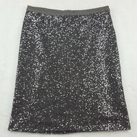 J Crew Womens Size 6 Pencil Skirt, Silver & Gray Sequin Covered, Silk Lined