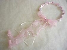Pink flower girl wreath halo headpiece with long ribbons
