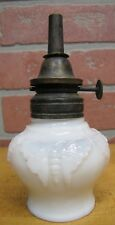 Antique BUTTERFLY Oil Lamp Opalescent White Milk Glass WALLACE & SONS ANSONIA Ct