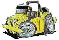 Mini Moke Yellow cartoon car t-shirt bmc leyland beach buggy cagiva sizes S-3XL