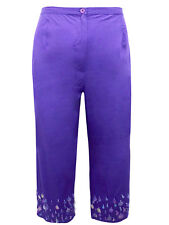 Brand New Evans Cropped Trousers ~ Size 22 ~ Purple with sequins ~ 100% Cotton