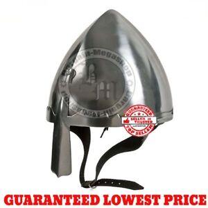 Norman Nasal Helmet w/ Chin Strap, Knight Crusader Larp, Fancy Dress sn