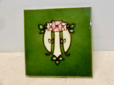 Antique Arts And Crafts Wall Tile Deep Greens Floral 2