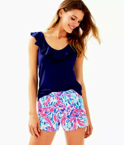 Lilly Pulitzer NWT Hazelle Stretch Shorts Cosmic Coral Cracked Up Size 00