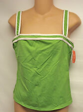 LAND'S END Bathing Suit TOP-GREEN/WHITE COLOR size 12 NEW
