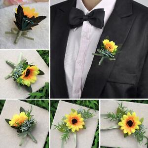 1x Silk Wedding Flowers Groom Sunflower Best Man Brooch Pin Corsage Party Decor