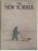 COVER ONLY ~ The New Yorker magazine ~MIHAESCO ~February 16 1987 ~ Man walks dog
