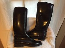 DAV English Solid Rainboots, black rubber, lined in close cropped fleece, 11,NWB