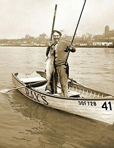 "1940 Fishing for Salmon Washington Vintage Old Photo 8.5"" x 11"" Reprint"