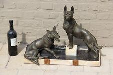 Huge XXL ART DECO 1930 German Sheperd Dog marble spelter bronze Statue sculpture
