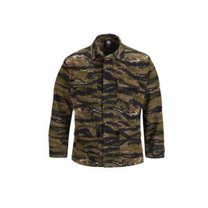 Asian Tiger Stripe Camo BDU Shirt Tactical Military Uniform 4-Pocket Coat Jacket