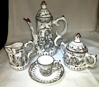 Vintage Portuguese 17pc Porcelain Hand Painted Coffee/Tea/Expresso Set Alcobaca