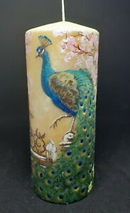 Peacock Candle. Hand Painted and Decorated Candle, Unique Gift.