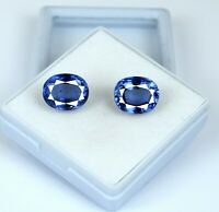 Natural Oval Blue Sapphire Gemstone Matching Pair 14-16 Ct Ceylon AGSL Certified