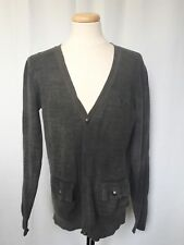 Parasuco Denim Supply Mens V-Neck Cable Knit Sweater Cardigan Gray XL