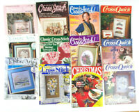 Lot of 12 Vintage CROSS STITCH MAGAZINES Variety of Publications CHRISTMAS Cars+
