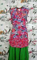 *Per Una* Retro Floral Boho Sleeveless Tunic Top Plus Size 16 Festival Hippy