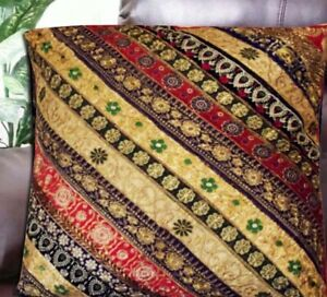 """30"""" RED INDIA HOME DÉCOR SARI BEAD SEQUIN THROW FLOOR BED CUSHION PILLOW COVER"""