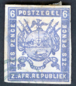 Transvaal Sc26 6d Imperf Coat of Arms 1870-72 First South African Republic (A)