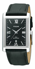 Genuine Leather Strap Rectangle Watches with 12-Hour Dial