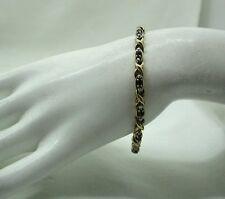 1980's Vintage Lovely 9ct Gold Sapphire And Diamond cross Over Design Bracelet