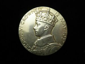 Coronation of George VI 1937 Large Silver Medal 57mm, 91.8g