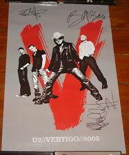 U2 SIGNED VERTIGO CONCERT POSTER 2005 BONO EDGE ADAM UACC REGISTERED DEALER