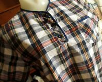 MEDIUM True Vtg 60's PAPER THIN HENLEY BUTTON TOP PLAID SUMMER T-shirt