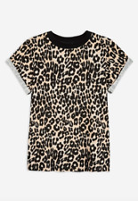 NEW Top Shop Roll Sleeve Leopard Print T-Shirt Small 6