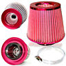 """3"""" 76mm Inlet HIGH FLOW Short Ram Cold Air Intake ROUND Cone MESH Filter RED"""