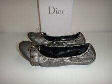 DIOR ITALY Veau Womens Flat Shoes Ballets Silver Leather EUR Sz 40.5  US Sz 10.5