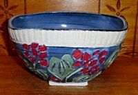 "Studio Art Pottery Bowl w/ Flowers - Incised Mark - 9 1/4"""