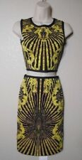 Crop Top Pencil Skirt Bandage Jacquard  sz L Mauve Yellow NWOT
