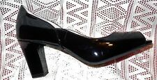 TARYN ROSE FREDDY PUMPS Shoes BLACK PATENT LEATHER HEELS Open-Toe $200 Size 9.5