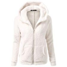 Womens Fleece Winter Wram Hooded Long Sleeve Jacket Coats Zip-up Outwear Hoodies