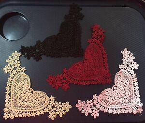 4 Heart Shape Lace Appliques, Maroon, Black, Pink, Lime, with musty smell