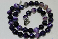 8mm/10mm natural purple striped agate round gemstone charm necklace 17/20/24''