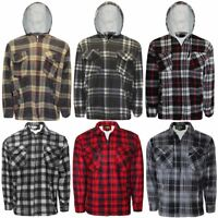 Mens Lumberjack Fur Fleece Lined Padded Shirt Flannel Work Warm Thick Top Jacket