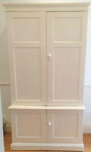 Vintage, painted, wooden, Victorian linen press/school cupboard