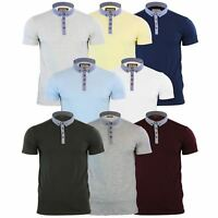 Brave Soul Chimera Mens Polo T Shirt Chambray Collared Cotton Casual Top